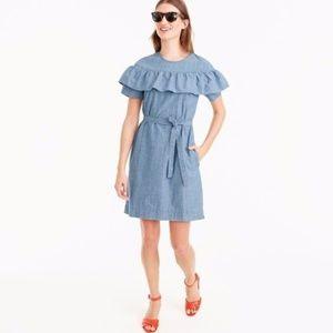 J. CREW Edie Ruffle Dress in Chambray Denim NWT